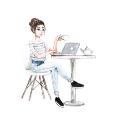 watercolor girl work at cafe with cup of coffee, laptop