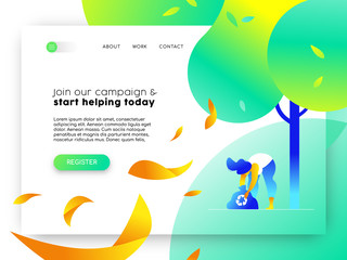 Nature help online web landing page template