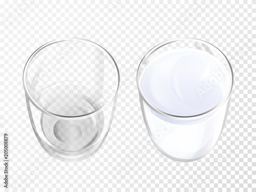milk glass 3d vector illustration of realistic crockery for dairy Banner No Background isolated empty and full crystal glasses or glassware mockup template models set on transparent background