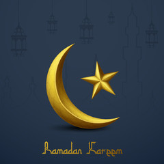Ramadan Kareem islamic greeting with golden crescent moon and star. Line mosque and traditional lantern hanging