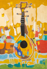"Children's drawing gouache  ""Decorative Still life with musical instrument """