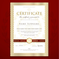 Certificate, Diploma template with white background and geometric triangle shapes pattern frame. Design useful for business education award
