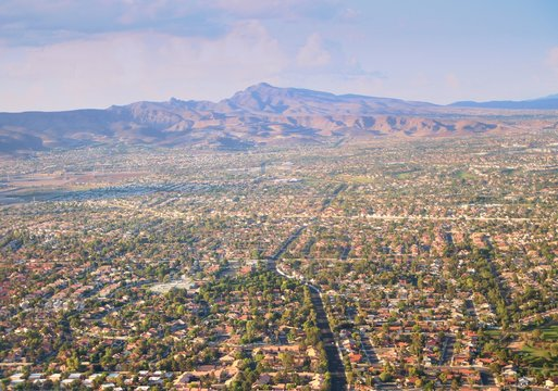Aerial view of Las Vegas City  Early in the morning scene seen from an airplane window