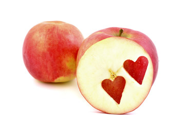 Red apple, with heart.