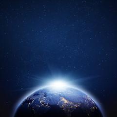 Planet Earth sunrise. 3d rendering