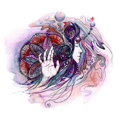 Magic dream shaman. Watercolor drawing.