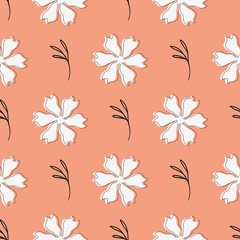 Stylish floral seamless pattern. Sketch drawn by hand. Endless feminine print.