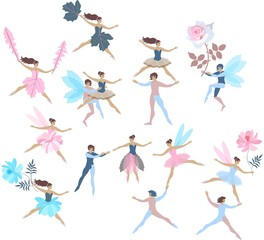 Set of beautiful dancing fairies and elves isolated on white background. Vector summer design. Endless print for fabric, paper, wallpaper, wrapping design.