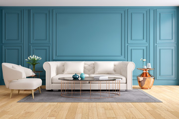 Modern and classic living room interior design, Spring Summer house concept , 3d rendering