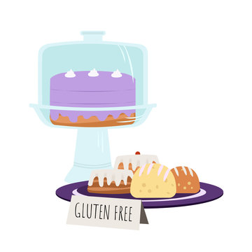 Purple cake under dome with bakery pastries on a plate. Gluten free food. Vector illustration