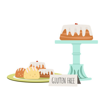 Cake on retro cake stand with bakery pastries on a plate. Gluten free food. Vector illustration