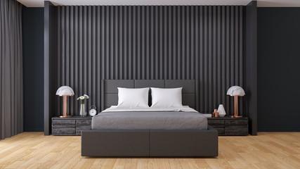 black wall ,Modern  Bedroom interior Design,3d render