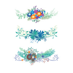 flower border vector with ivy vines, ferns, and curl flourishes in a pretty floral bouquet design element for underline and design accents isolated on a white background