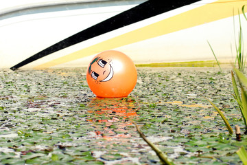 orange helium ball with an image of a smiley is on the water with green vegetation