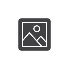 Gallery picture vector icon. filled flat sign for mobile concept and web design. Landscape image simple solid icon. Symbol, logo illustration. Pixel perfect vector graphics