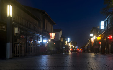 Beautiful street in the Gion district, famous for the Geishas, at the blue hour, Kyoto, Japan