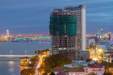 Da Nang, Vietnam – Business and Administrative District of Da Nang city on the Han river during night with night views. Picture taken on Jan 2018