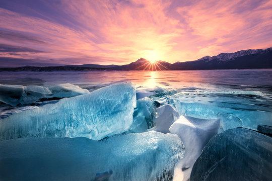 Dawn Breaks, Ice Breaks, Abraham Lake, Alberta, Canadian Rockies