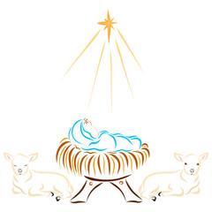 Baby Jesus, Animals and the Bethlehem Star
