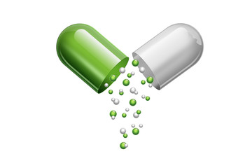 A tablet in the form of capsules of green color, isolated on white background. The concept of medicine, treatment, treatment.