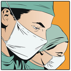 Doctors in surgical masks.