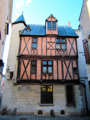 ANGERS, Old half-timbered house in Angers, France