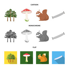 Pine, poisonous mushroom, tree, squirrel, saw.Forest set collection icons in cartoon,flat,monochrome style vector symbol stock illustration web.
