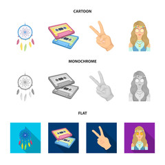 Amulet, hippie girl, freedom sign, old cassette.Hippy set collection icons in cartoon,flat,monochrome style vector symbol stock illustration web.