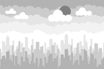 City landscape in gray. A realistic view of the city in gray tones.