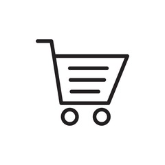 shopping cart, shopping trolley outline vector icon. Modern simple isolated sign. Pixel perfect vector illustration for logo, website, mobile app and other designs
