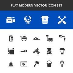 Modern, simple vector icon set with helmet, jar, film, water, cap, paddle, fashion, furniture, restaurant, red, sofa, light, video, construction, builder, bathroom, oar, jam, lamp, canoe, glass icons
