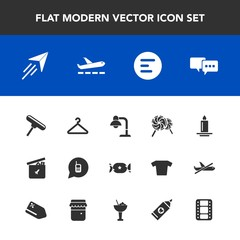 Modern, simple vector icon set with entertainment, bubble, food, video, sweet, fashion, menu, bear, flame, movie, home, button, communication, fly, light, plane, film, ringing, airplane, ball icons