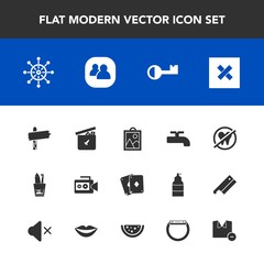 Modern, simple vector icon set with toy, health, group, white, arrow, ship, gadget, shirt, video, poker, rudder, toothpaste, film, hygiene, clothes, ball, game, bear, closed, helm, wheel, crane icons