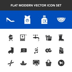 Modern, simple vector icon set with video, sound, grill, tap, roller, fashion, gift, face, chat, holiday, care, sport, female, music, watermelon, faucet, leather, team, stone, note, bag, dental icons