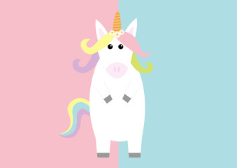 Unicorn standing Pastel color rainbow hair, daisy chamomile flower. Kawaii head face. Flat lay design. Cute cartoon baby character. Funny horse. Happy Valentines Day. Love card. Pink blue background