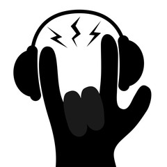 Headphones lightning light. Rock&roll hand finger black silhouette shape icon. Rock and roll. Heavy metal gesture horns sign symbol. Music card. Flat design. Isolated. White background.