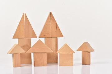積み木の家と木