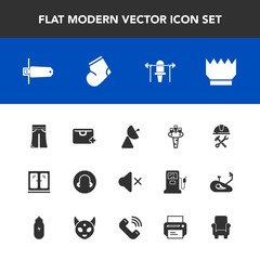 Modern, simple vector icon set with foreman, weight, industry, memory, king, helmet, socks, crown, liquid, glass, luxury, card, fitness, radio, cabinet, flash, woman, fashion, clothes, mute, add icons
