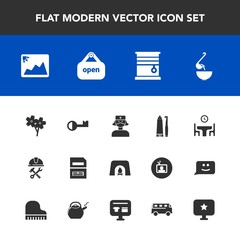 Modern, simple vector icon set with care, construction, curtain, fireplace, file, picture, document, toothbrush, warm, computer, data, spoon, family, dinner, foreman, home, frame, photo, open icons
