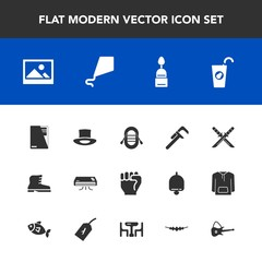 Modern, simple vector icon set with conditioner, dessert, background, food, frame, style, healthy, footwear, air, old, file, fresh, hand, service, concept, katana, repair, human, leather, weapon icons