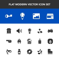 Modern, simple vector icon set with spaceship, transport, truck, chef, parachute, restaurant, up, hot, music, jump, technology, image, photo, key, space, sticky, pointer, food, frame, shop, sky icons