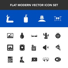 Modern, simple vector icon set with child, food, picture, signal, drum, cooking, background, fitness, game, power, soap, science, green, communication, astronaut, exploration, space, bulb, poker icons