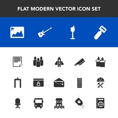 Modern, simple vector icon set with space, decoration, potato, frame, image, candle, scan, internet, rocket, craft, holder, cone, cutlery, communication, text, document, envelope, vegetable, web icons