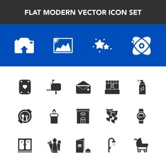 Modern, simple vector icon set with photo, box, envelope, decoration, star, street, mail, grocery, house, grunge, frame, upload, nature, mailbox, picture, post, plate, astronomy, estate, flame icons
