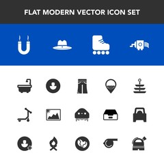 Modern, simple vector icon set with cooking, picture, hat, grater, cheese, space, image, pants, plate, monster, fun, frame, magnetic, toilet, location, human, kitchen, ufo, skating, texas, sign icons