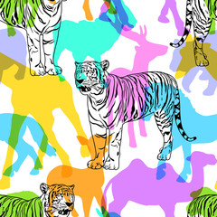 White tiger with colorful silhouette wildlife animals, seamless pattern. Wild animal design trendy fabric texture, illustration.