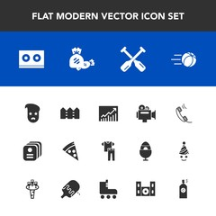 Modern, simple vector icon set with candy, fashion, collection, canoe, style, retro, sport, water, sweet, business, soccer, equipment, food, boat, clothing, paddle, film, oar, trend, concept, id icons