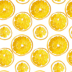 Seamless pattern with citrus orange fruit circles made in vector graphic design drawing