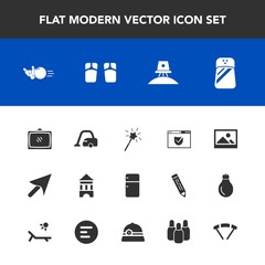 Modern, simple vector icon set with footwear, ball, check, summer, web, seasoning, background, wand, exploration, cleaner, entertainment, domestic, sign, astronaut, fun, pepper, spice, home, tv icons