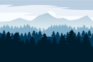 Pine forest and mountains vector backgrounds. Panorama landscape spruce silhouette illustration, vector, isolated